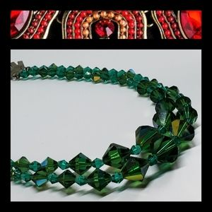 Designer Green Crystal Jeweled Necklace